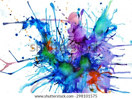 bright abstract watercolor painting - stock photo