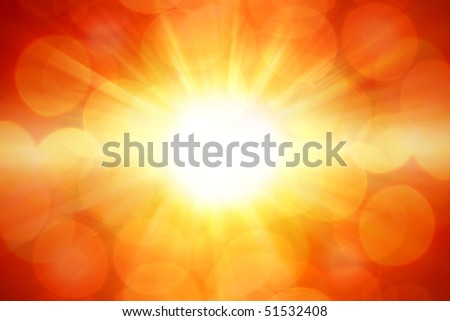 Bright abstract yellow and orange explosion sunlight background - stock photo
