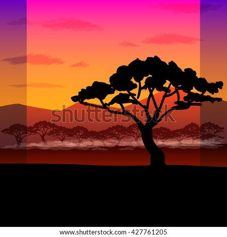 bright African landscape - stock photo