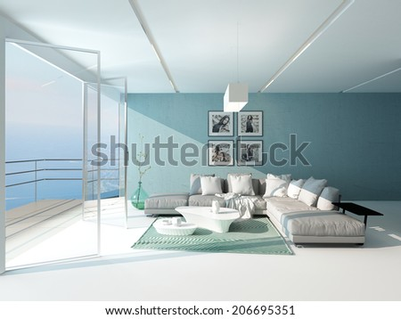 Bright airy sitting room with a panoramic floor-to-ceiling window overlooking the sea furnished with a comfortable suite and aquamarine accent wall - stock photo