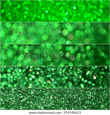 Bright and abstract blurred green rainbow background with shimmering glitter - stock photo