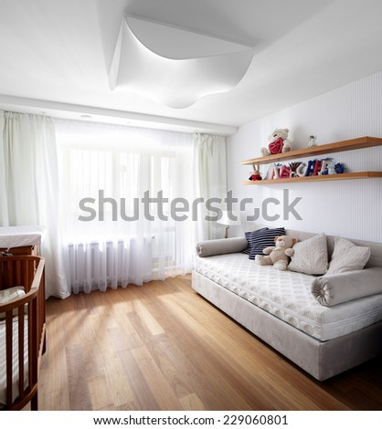 bright and beautiful interior of children room - stock photo