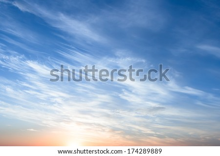 Bright and Cloudy Morning Sky. - stock photo