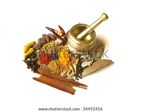 Bright and Colorful Indian Spices with Mortar - stock photo