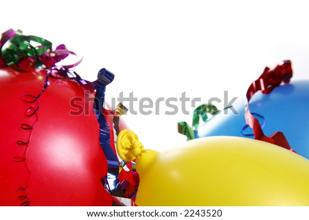 Bright and colorful party scene with streamers - stock photo