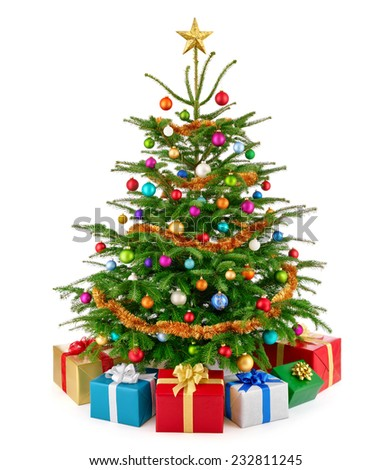 Bright and colorful studio shot of a fresh lush Christmas tree with multi-colored gift boxes arranged in front of it and a gold top star, isolated on pure white - stock photo