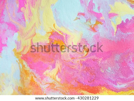 Bright and colorful texture with marbling effect in pink, yellow, orange and turquoise colors. - stock photo