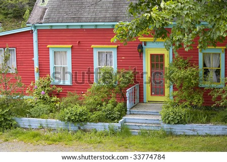 Bright and colorful yet typical housing style in Newfoundland, Canada.