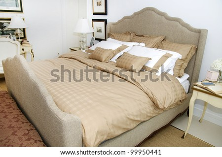 Bright and cozy bedroom - stock photo