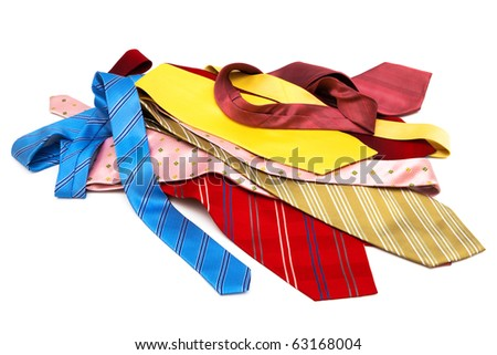 bright and fashionable ties on a white background - stock photo