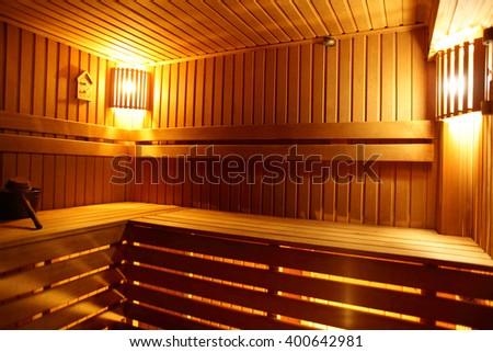 bright and hot interior of modern russian sauna - stock photo