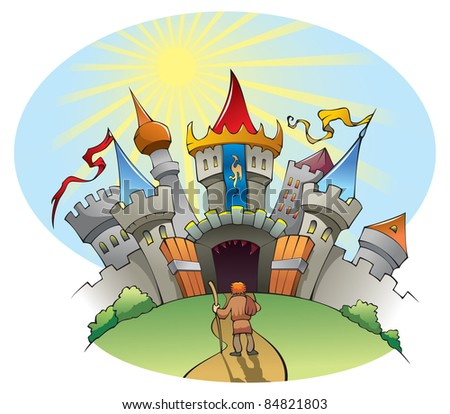 Bright and jolly Medieval castle, fortress with walls, towers, and flags, raster from vector illustration - stock photo