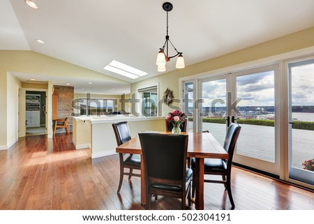 Bright and spacious dining area with perfect window view. Northwest, USA