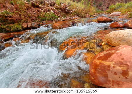 Bright Angel Creek in Grand Canyon National Park - stock photo