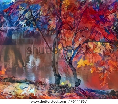 Bright art, autumn trees at the river, red-blue. A picture in style of modern impressionism. Beautiful photowall-paper, digital design, wall press, etc.