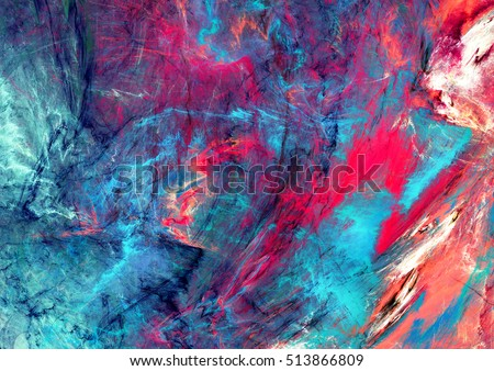 Bright artistic splashes. Abstract painting color texture. Modern futuristic pattern. Blue and pink dynamic background. Fractal artwork for creative graphic design