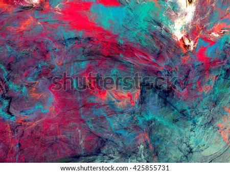 Bright artistic splashes. Abstract painting color texture. Modern futuristic pattern. Blue, green, red and pink dynamic background. Fractal artwork for creative graphic design