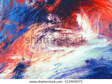 Bright artistic splashes. Abstract painting color texture. Modern motion futuristic pattern. Blue, red and white dynamic background. Fractal artwork for creative graphic design