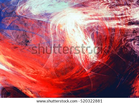 Bright artistic splashes. Abstract red, blue and white color motion composition. Modern futuristic background. Dynamic painting texture. Fractal artwork for creative graphic design