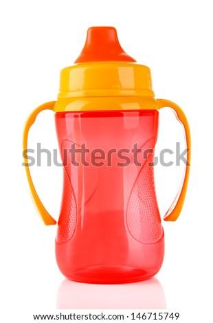 Bright baby bottle isolated on white - stock photo