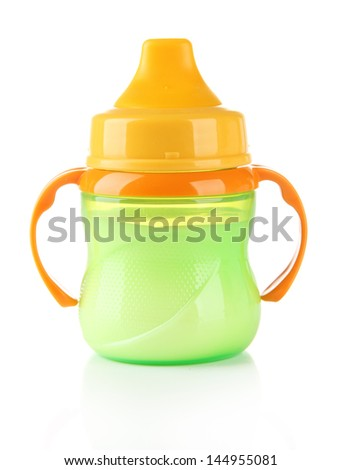 Bright baby bottle with milk isolated on white - stock photo