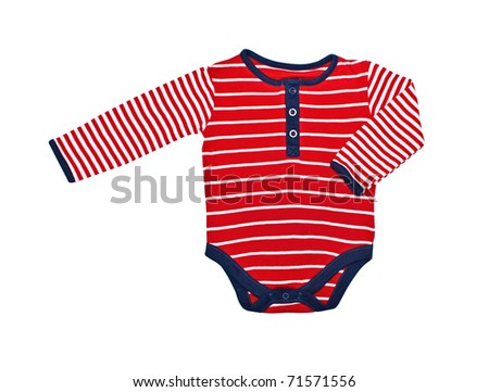 Bright baby clothes isolated on white background - stock photo