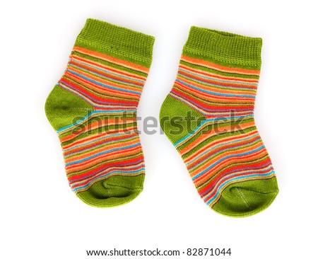 bright baby socks isolated on white - stock photo