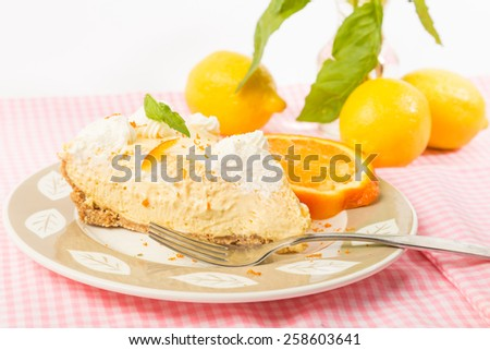 Bright back light on slice of Orange Ice Box pie on pink gingham tablecloth surrounded by citrus. - stock photo