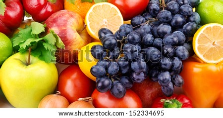 bright background of bright fruit and vegetables - stock photo