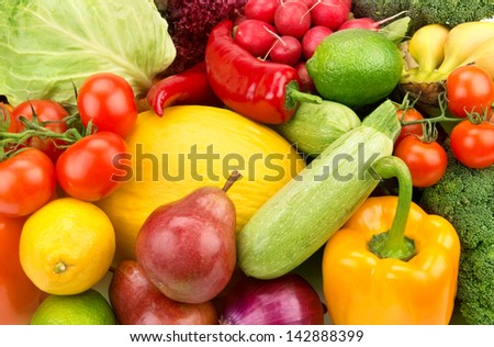 bright background of ripe fruit and vegetables - stock photo