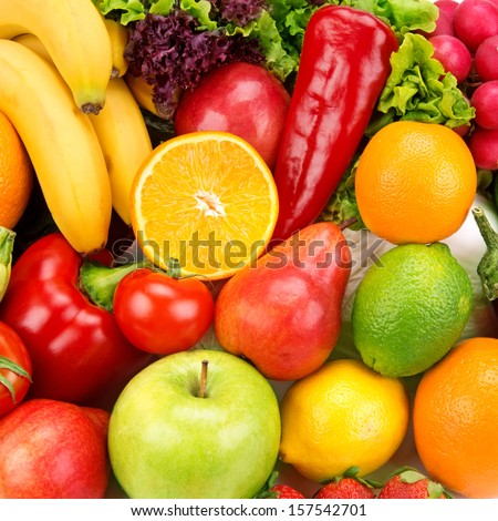 bright background of ripe fruits  and vegetables - stock photo