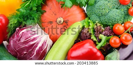bright background of various vegetables - stock photo