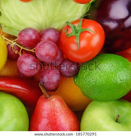 bright background  of vegetables and fruits - stock photo