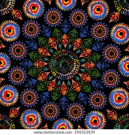 Bright background picture with oil paints. Colorful mosaic. Floral pattern ornament. Oil paint. Pattern flowers, painted with oil paints. Flower pattern ornament, mosaic. Mandala on perfect black. - stock photo