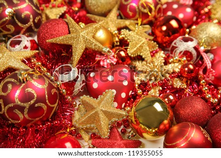 bright background with christmas decorations