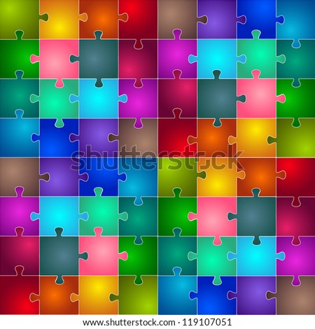 Bright background with puzzles.