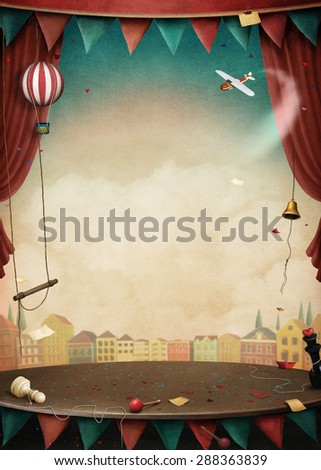 Bright background with various circus objects for illustrations and posters - stock photo