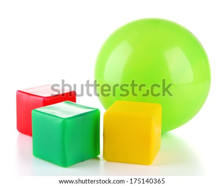 Bright ball and colorful cubes isolated on white - stock photo