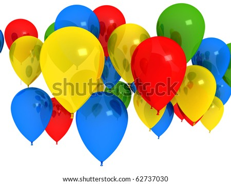 Bright ballons over white. 3d computer generated image - stock photo