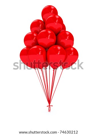 Bright balloons over white. 3d computer generated image - stock photo