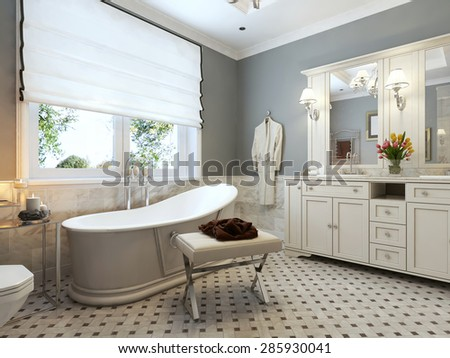 Bright bathroom in classic design in blue and white colors. 3d render.