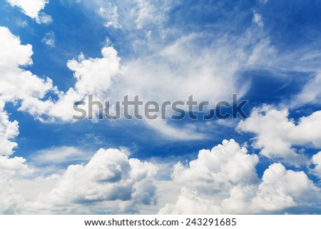 bright beautiful blue sky with clouds, as background - stock photo