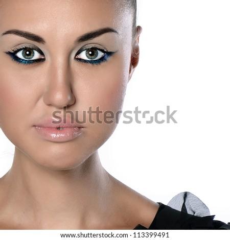 bright beautiful young woman - stock photo