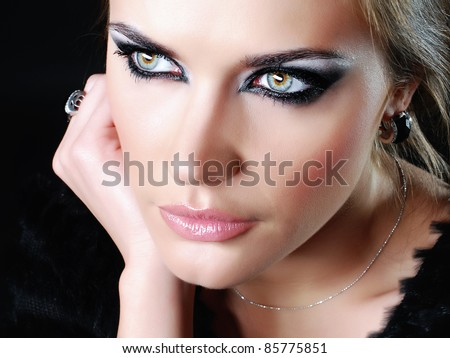 bright beautiful young woman - stock photo