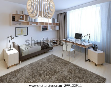Bright bedroom trend. Large bright room with a huge woolen carpet in the center. 3D render - stock photo