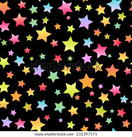 Bright biack  seamless background with colorful  stars - stock photo
