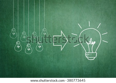 Bright big creative idea light bulb icon versus group of hanging small lightbulbs freehand doodle sketch drawing on green school chalkboard background Education IP Business teamwork brainstorm concept