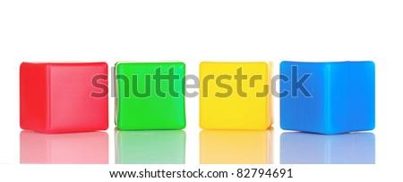 bright blocks isolated on white - stock photo