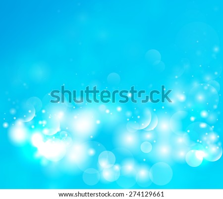 Bright blue background with bokeh and glow. Abstract winter background. Magic light background.  - stock photo
