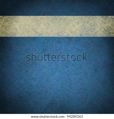 bright blue background with white parchment vintage grunge ribbon with copy space and center highlight for announcement or invitation text - stock photo